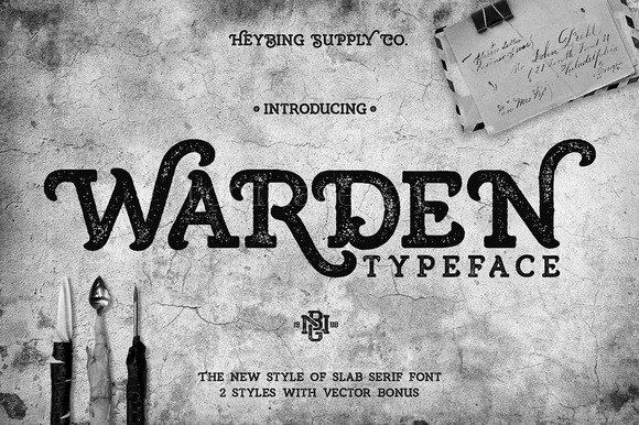Warden复古好看的质感海报英文字体下载