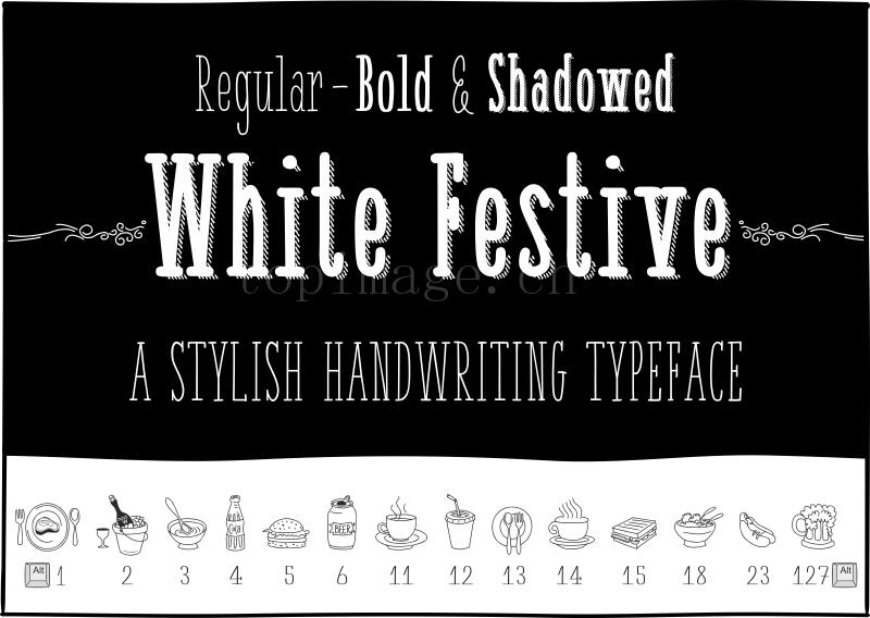 white_festive复古投影英文字体下载