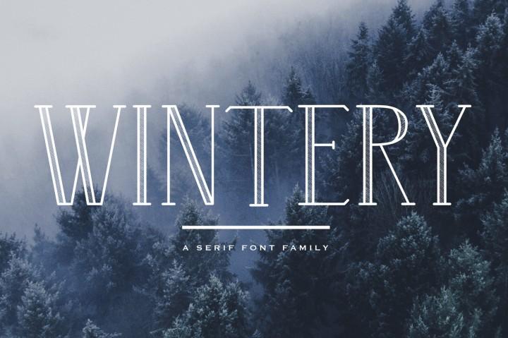 wintery现代空心底纹衬线英文字体下载
