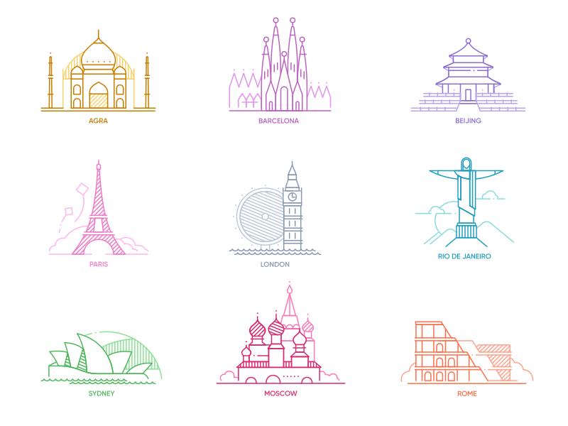 世界著名建筑 自由女神 大本钟 巴黎艾菲尔铁塔 天坛 泰姬陵 图标icon 线性下载
